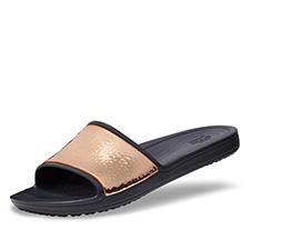 Women's Crocs Sloane Hammered Metallic Slides