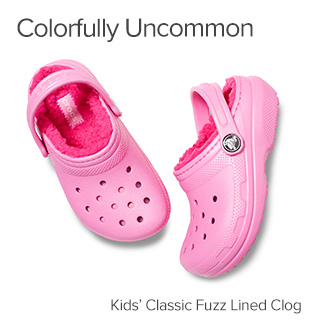 Colorfully Uncommon. Kids' Classic Fuzz Lined Clog.