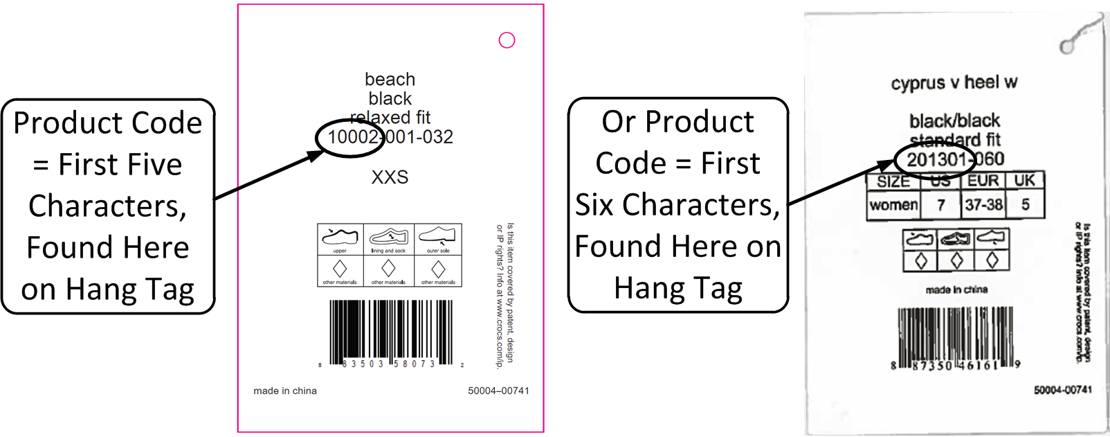 The product code is a five or six digit number found on the product hang tag.