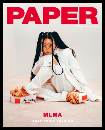 Paper Magazine digital cover featuring Kentucky Fried Chicken® x Crocs Platform Clogs. MLMA. Deep Fried Fashion.