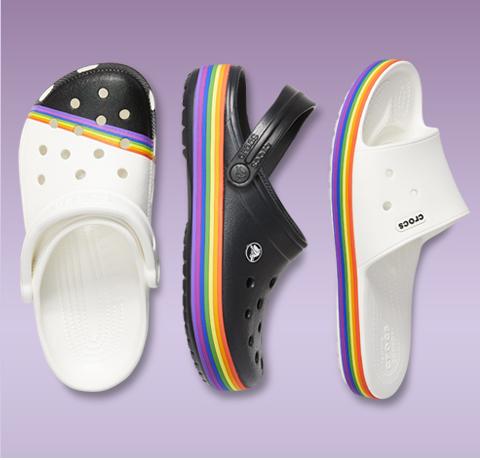 Classic Rainbow Clog, Crocband™ Rainbow Clog, Crocband™ III Rainbow Slide.
