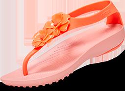 Women's Crocs Serena Embellished Flip, Bright Coral/Melon