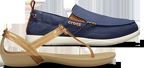 777bd9af5c Bronze Women s Crocs Isabella T-Strap Sandal and Navy Stucco Men s Walu  Slip-
