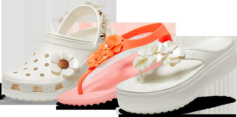 9de9bf78857 Oyster Classic Metallic Blooms Clog   Bright Coral Melon Women s Crocs  Serena Embellished Flip