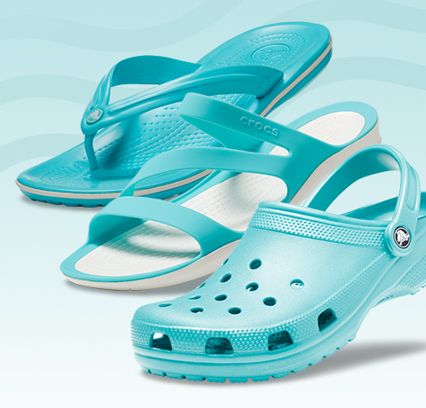 Crocband™ Flip, Pool/White & Women's Swiftwater™ Sandal, Pool/White & Classic Clog, Pool Blue.